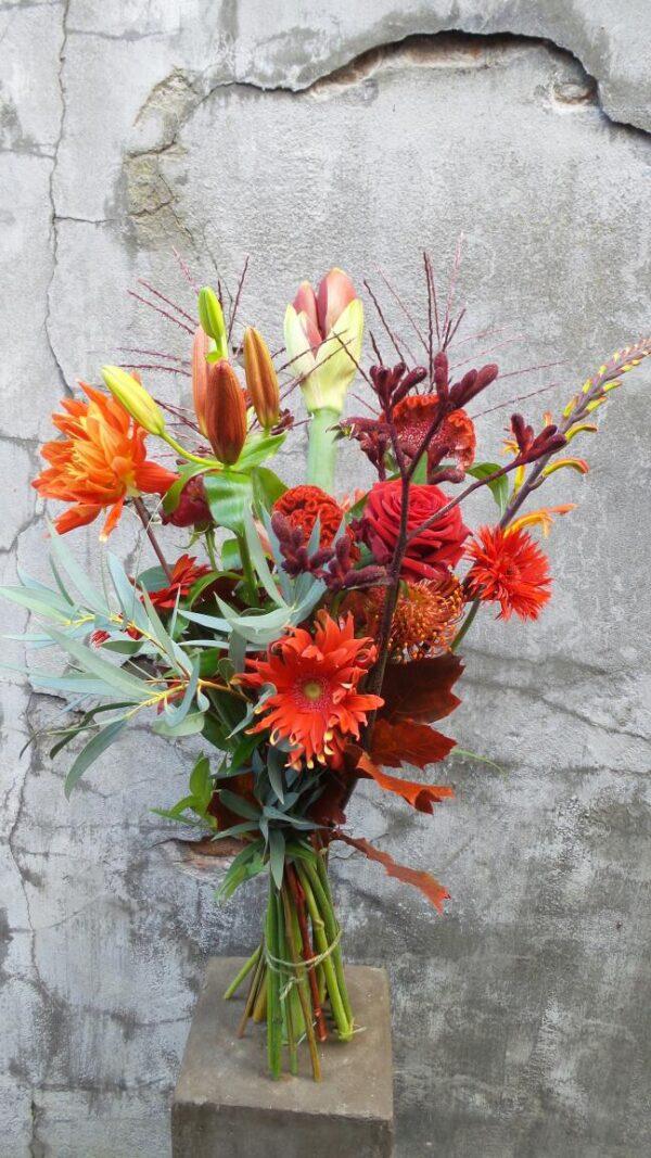 Herfstboeket rood oranje